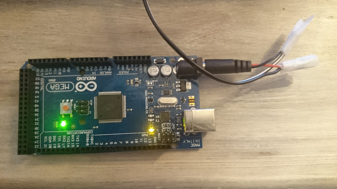 Arduino MEGA with power from hacked wall wart
