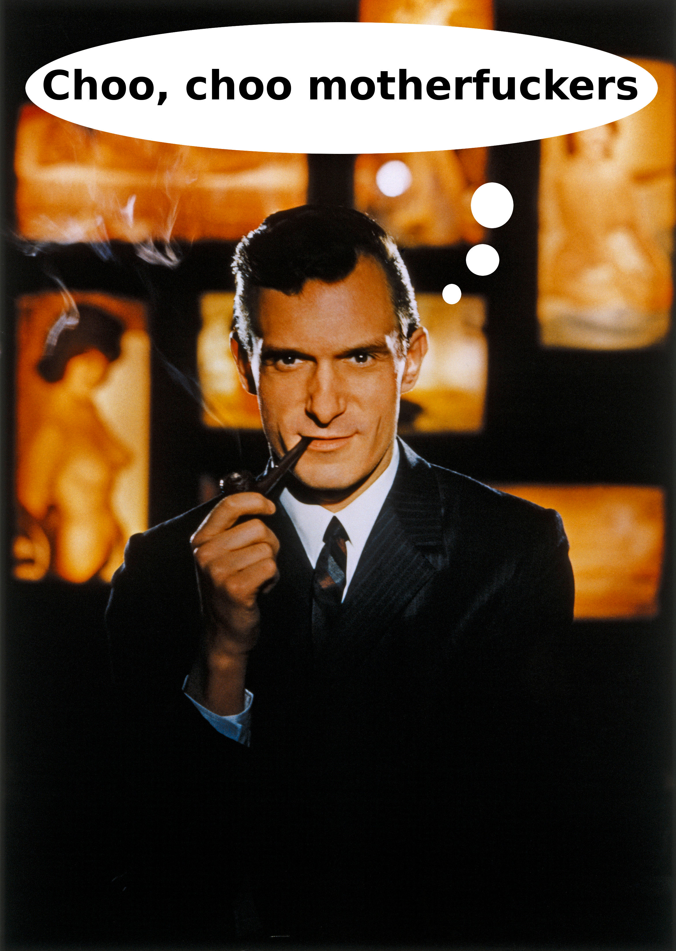 Image of Hugh Hefner in a suit smoking a pipe, maybe in his thirties