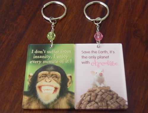 Two keyrings next to each other, one green with a grinning monkey and the text I don't suffer from insanity, I enjoy every minute of it and the other pink with a pig on a mountain of chocolate with the text Save the earth, it's the only planet with chocolate